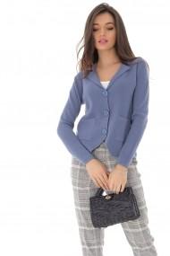 Cardigan Roh Boutique albastru, scurt tricotat, ROH - BR2258 albastru