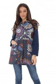 Jacheta Roh Boutique bleumarin cu imprimeu multicolor, ROH - JR515 bleumarin|multicolor