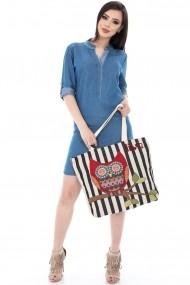 Geanta Roh Boutique crem cu imprimeu bufnite - A0192 crem One Size