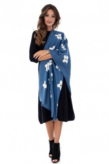 Esarfa Roh Boutique albastra, ROH, cu imprimeu floral - A0278 albastru One Size