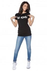 Tricou Roh Boutique negru, simplu - Be Kind - ROH - BR2296 negru
