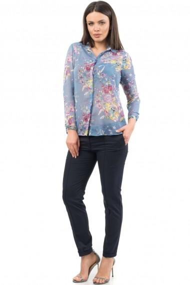 Camasa Roh Boutique Albastra cu imprimeu floral, de vara - BR1334 Albastra