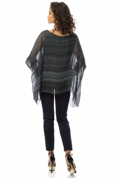 Bluza Roh Boutique gri inchis cu imprieu zig zag - BR1365 gri One Size