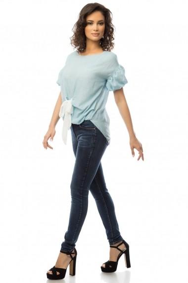Bluza Roh Boutique albastra cu funda alba - BR1369 albastru One Size