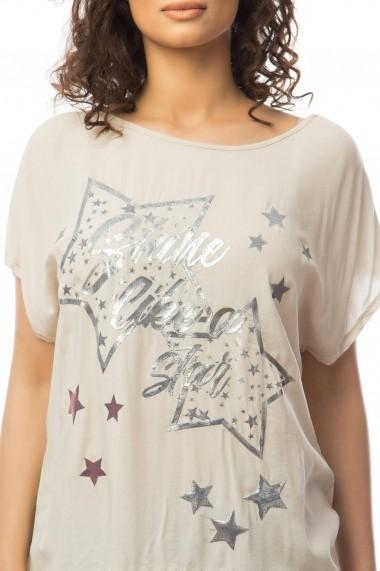 Bluza Roh Boutique Roz pal cu imprimeu stelute - CLB238 Roz pal One Size