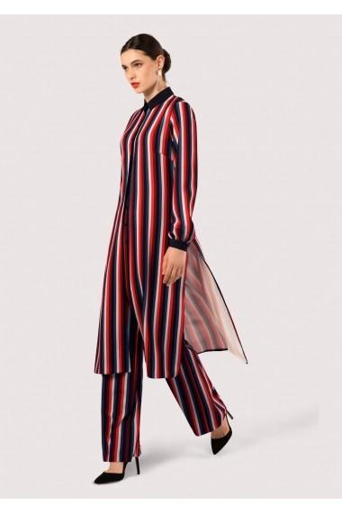 Camasa Roh Boutique in dungi, ROH, lunga - DR3601 Neagra|Multicolora