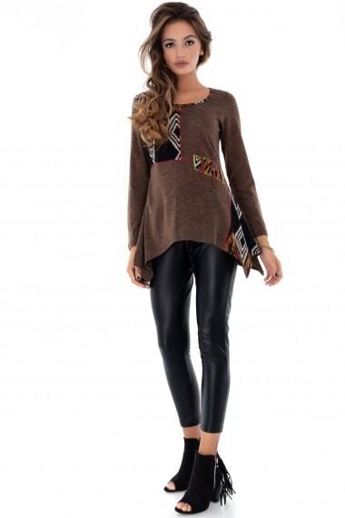Bluza Roh Boutique maro, ROH, asimetrica - BR1923 negru|multicolor