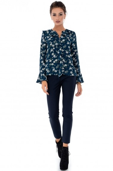 Bluza Roh Boutique teal, ROH, cu volan - BR1919 teal