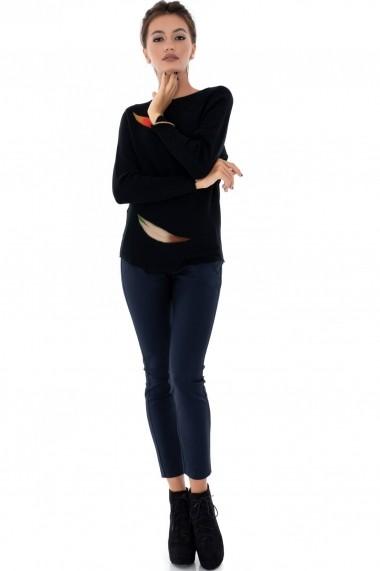 Pulover Roh Boutique negru, ROH, cu aplicatii - BR1929 negru One Size
