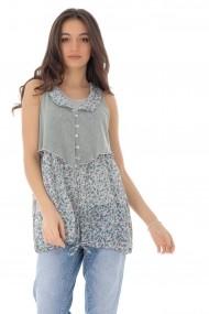 Bluza Roh Boutique chic cu imprimeu floral, ROH - BR2287 gri|multicolor