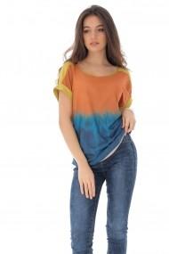 Bluza Roh Boutique lejera, multicolora, casual, ROH - BR2286 portocaliu|albastru|galben