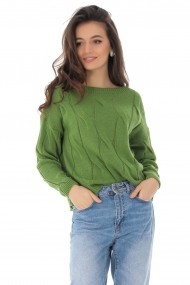 Pulover Roh Boutique verde, cu impletitura ampla, ROH - BR2291 verde