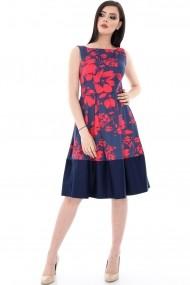 Rochie office Roh Boutique cu flori rosii imprimate - DR2908 neagra cu rosu