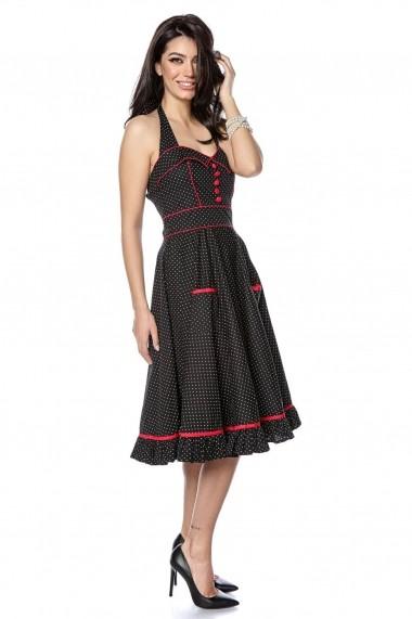Rochie midi neagra Roh Boutique polka, draguta, stil anii 50