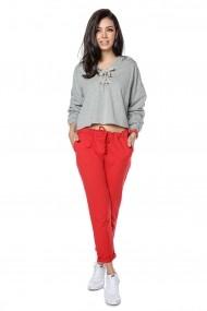 Pantaloni drepti Roh Boutique rosii, casual din bumbac - TR365 rosu