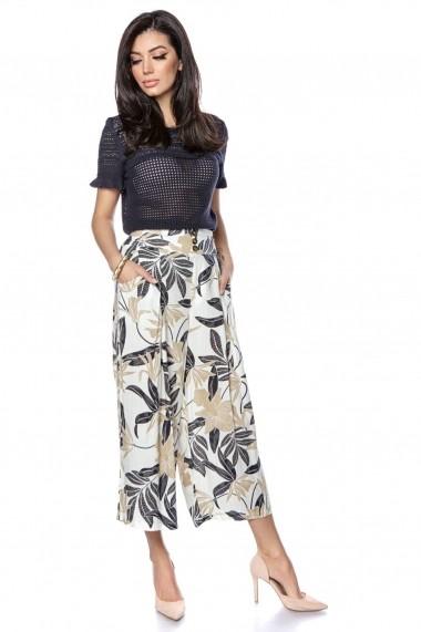 Pantaloni largi Roh Boutique trei sferturi cu imprimeu frunze - ROH - TR356 crem
