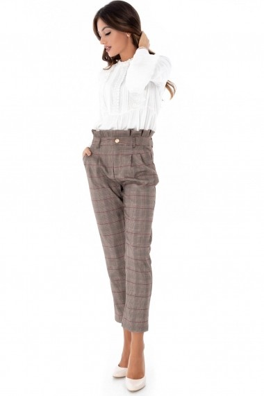 Pantaloni drepti Roh Boutique bej, ROH, in caro - TR286 bej multicolor