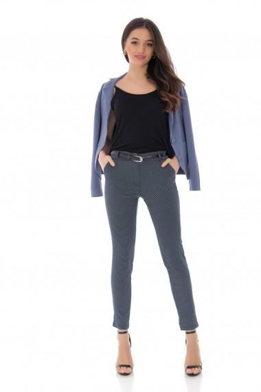 Pantaloni drepti Roh Boutique bleumarin, cu curea in talie, ROH - TR350 bleumarin alb
