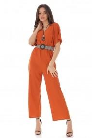Salopeta Roh Boutique portocalie cu curea in talie, ROH - TR352 portocaliu