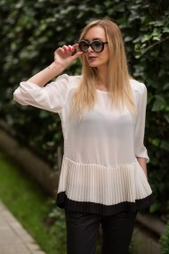 Bluza maneca lunga plisata DoubleYou White New15