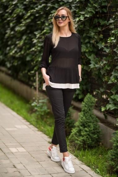 Bluza maneca lunga plisata DoubleYou NEW15 BLACK