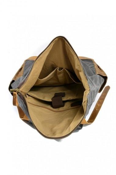 Rucsac din piele naturala si material textil cerat URBAN BAG Boston Gri