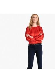Bluza rosie cu guler rotund si nasturi la spate La Redoute Collections GFB095