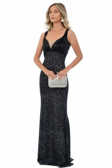 Rochie de seara din lurex M400-33 Negru
