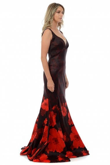 Rochie de seara din tafta elastica M700-36 Rosu