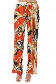 Pantaloni largi din satin plisat P121 Multicolor