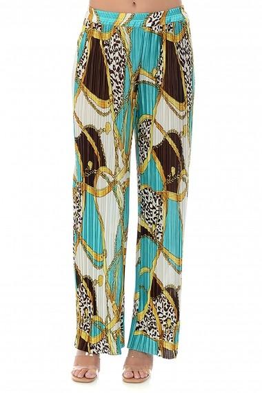 Pantaloni largi din satin plisat P122 Multicolor