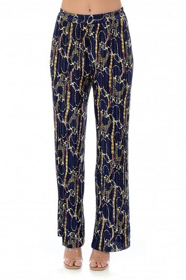 Pantaloni largi din satin plisat P123 Multicolor