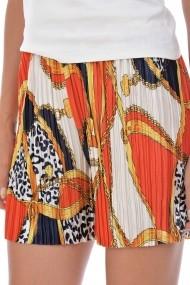 Pantaloni scurti din satin plisat P131 Multicolor