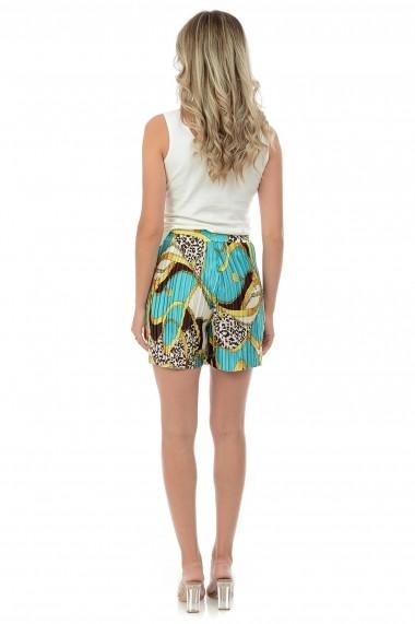 Pantaloni scurti din satin plisat P132 Multicolor
