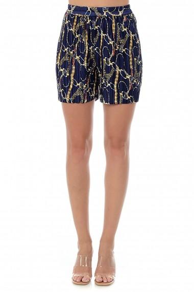 Pantaloni scurti din satin plisat P133 Multicolor
