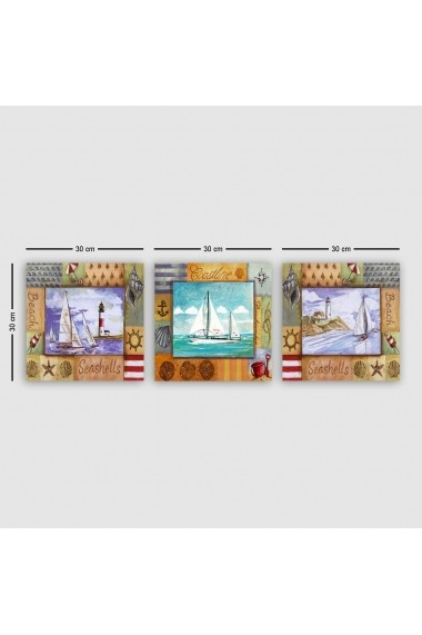 Tablou decorativ din panza (set 3 bucati) Remy 564RMY1192 multicolor