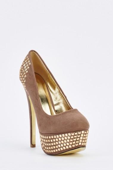 Pantofi cu toc 635419-257818 Kaki