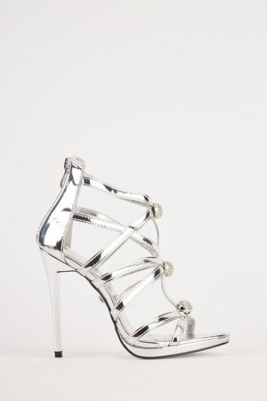 Sandale cu toc eOutlet 653787-294697-154898 Argintiu - els
