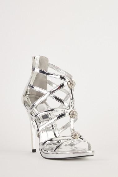Sandale cu toc eOutlet 653787-294697-154898 Argintiu