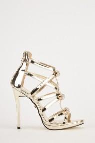 Sandale cu toc eOutlet 653787-294698-124387 Auriu