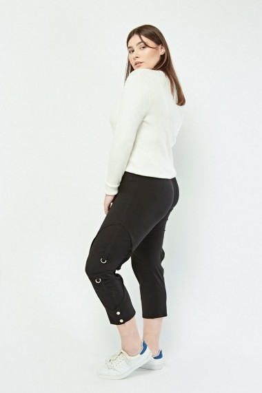 Pantaloni skinny trei sferturi plus size eOutlet 652933-293260-146717 Bleumarin