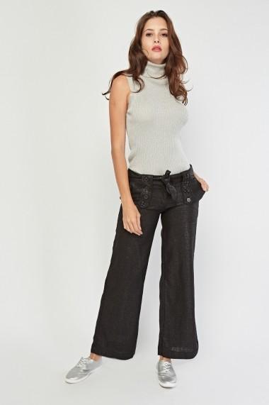 Pantaloni largi eOutlet 653964-295087-6900 Negru