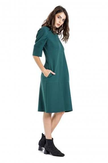 Rochie cu maneci incretite verde