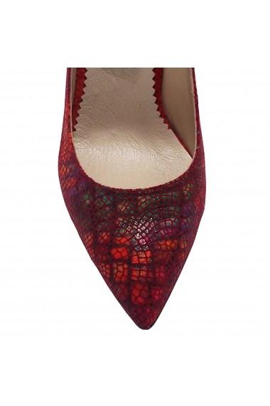 Pantofi cu toc Luisa Fiore Sipica rosu print