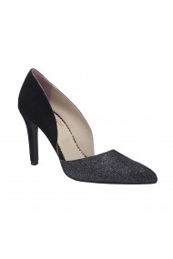 Pantofi cu toc Luisa Fiore Tulipano, piele naturala, negru/print