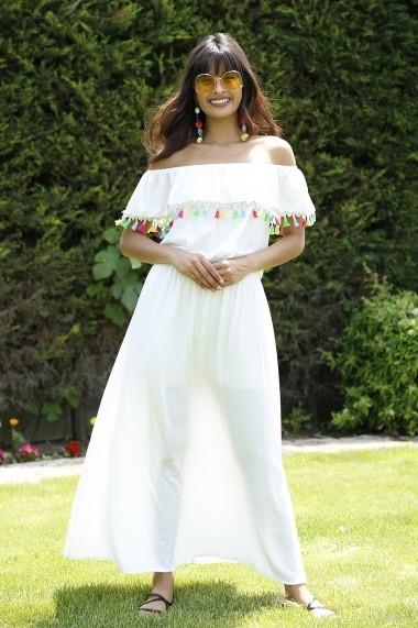 Rochie Bambina Mia KR2718-BEYAZ Alb