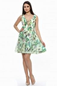 Rochie de zi scurta din tull verde floral Lille Couture Iris