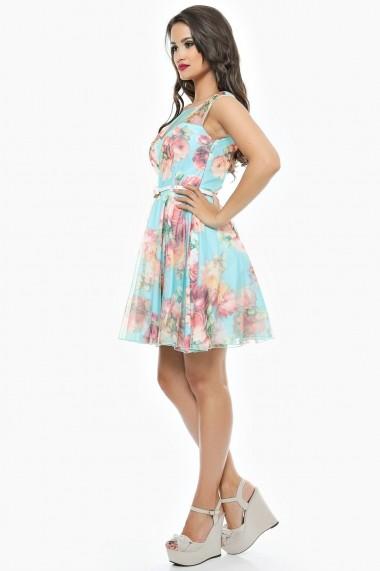 Rochie de zi scurta din tull floral turcoaz Lille Couture Flori