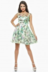 Rochie de zi scurta Lille Couture Flori din tull floral verde