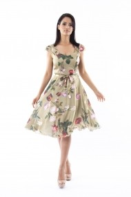 Rochie de zi Lille Couture 19RZM 039 din matase sintetica Liana Floral 2